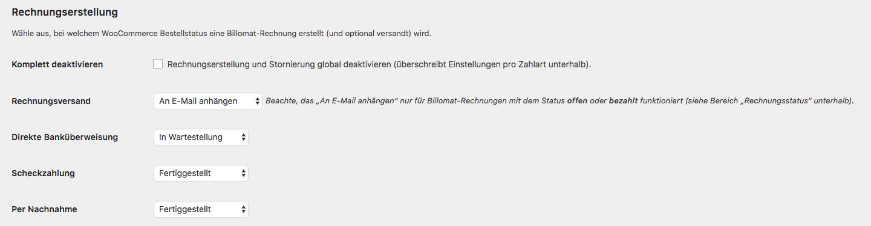 Billomat WooCommerce Plugin V 1.2.0: Über die Einstellung Rechnungsstellung kannst du pro Zahlart definieren, zu welchem WooCommerce-Bestellstatus die Rechnung erstellt werden soll.